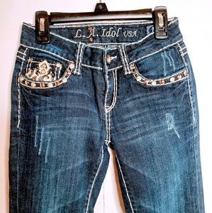 L. A. IDOL USA Fancy Bling Jeans size 1